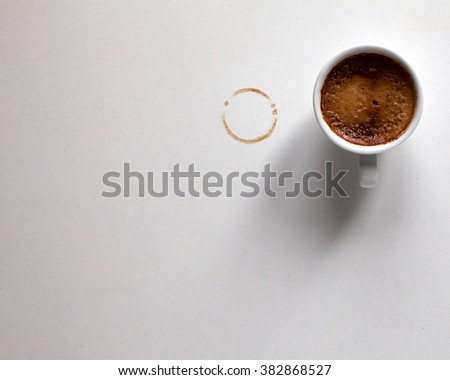 Espresso and coffee ring from Cup. Free space for text - stock photo