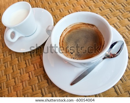 Espresso coffee and small jug of milk - stock photo