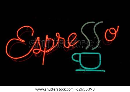 Espresso Coffee Cafe Neon Sign - stock photo