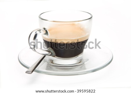Espresso Coffee in a glass mug on a white background - stock photo