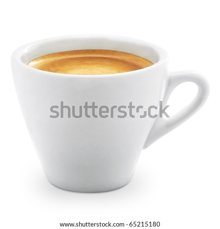 espresso coffee in a white cup on a white background + Clipping Path - stock photo