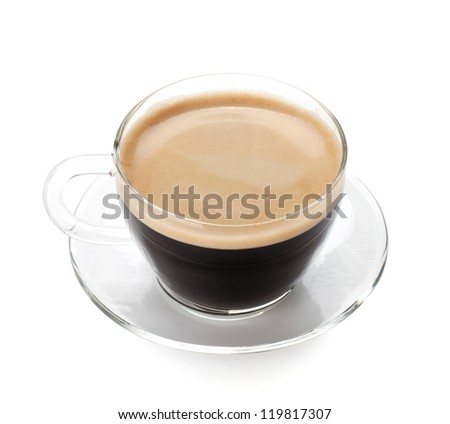 Espresso coffee in glass cup. Isolated on white background - stock photo