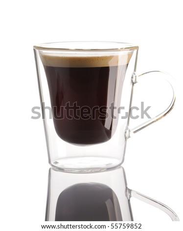 Espresso coffee isolated on white - stock photo