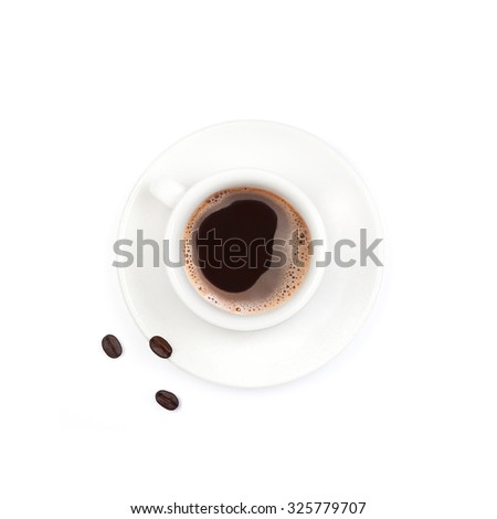 Espresso,cup of coffee, isolated on white background  - stock photo