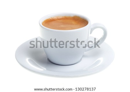 espresso in a cup isolated before white backgound - stock photo