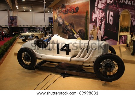 ESSEN, GERMANY - NOV 29: Historic Mercedes-Benz Racing Car shown at the Essen Motor Show in Essen, Germany, on November 29, 2011 - stock photo