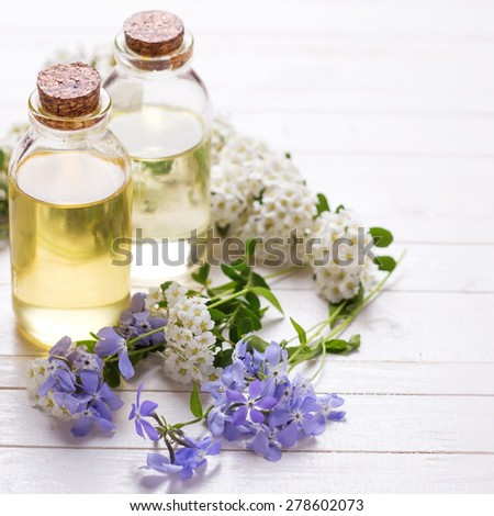 Essential aroma oil on  white painted wooden background. Selective focus. Place for text. Square image. - stock photo