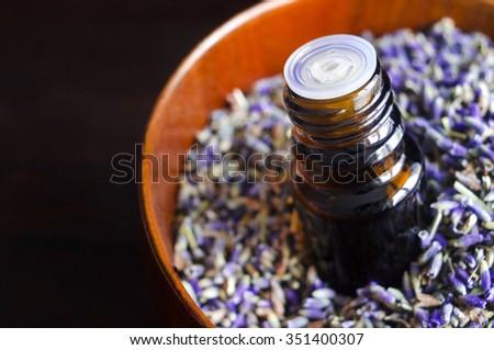 Essential lavender oil - stock photo
