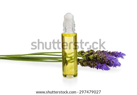 essential oil and  fresh lavender flowers as natural aromatherapy isolated on white background - stock photo