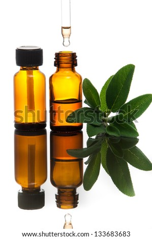 Essential oil with sage - stock photo