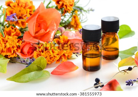 essential oils for aromatherapy treatment - stock photo