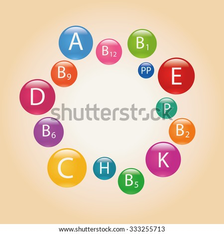 Essential vitamins necessary for human health. Colorful illustration. - stock photo