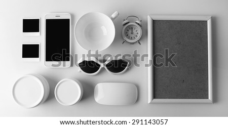 Essentials fashion woman objects on light background - stock photo