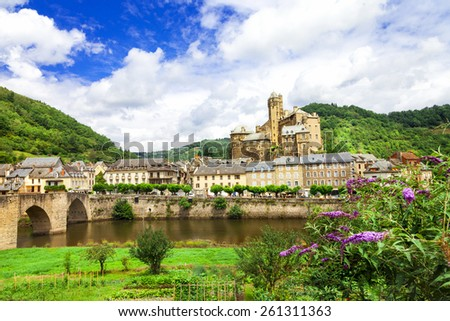 Estaing- one of the most beautiful villages of France  - stock photo