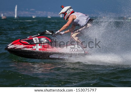 ESTAVAYER-LE-LAC, SWITZERLAND - JUL 06: Swiss Light Jetski competitor Nicolas Gex during the final of the 2013 Swatch Free4style Competition on July 06, 2013 in Estavayer, Switzerland. - stock photo