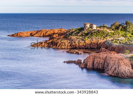 Esterel Massif With Small Church During Summer Day-French Riviera, Provence-Alpes, Cote d'Azur, France - stock photo
