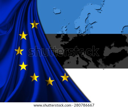Estonia and European Union Flag with Europe map background - stock photo