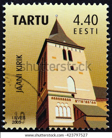 ESTONIA - CIRCA 2005: A stamp printed in Estonia issued for the 975th anniversary of the foundation of Tartu shows Jaani church, circa 2005. - stock photo