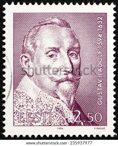 ESTONIA - CIRCA 1994: A stamp printed in Estonia issued for the 400th birth anniversary of King Gustav II Adolf of Sweden shows Gustav II Adolf, circa 1994.  - stock photo