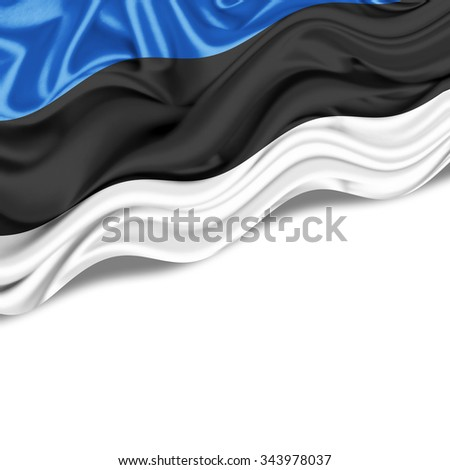 Estonia   flag of silk with copyspace for your text or images and  White background - stock photo