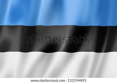 Estonia flag, three dimensional render, satin texture - stock photo