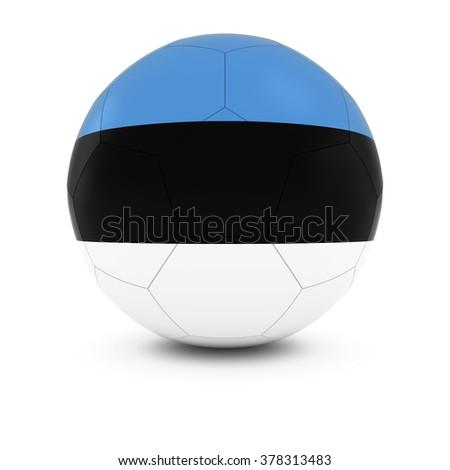 Estonia Football - Estonian Flag on Soccer Ball - stock photo