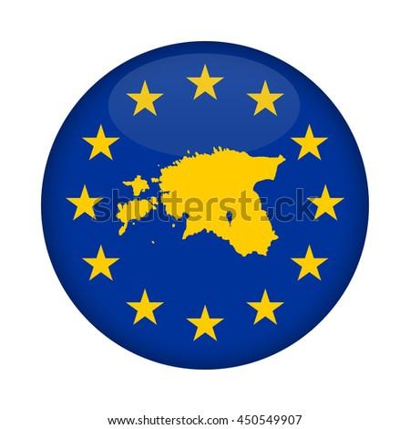 Estonia map on a European Union flag button isolated on a white background. - stock photo