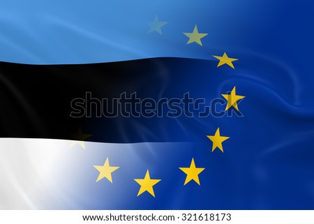 Estonian and European Relations Concept Image - Flags of Estonia and the European Union Fading Together - stock photo