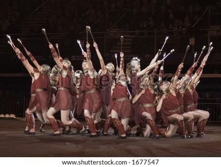 Estonian Dancers Edinburgh Military Tattoo - stock photo