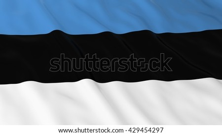 Estonian Flag HD Background - Flag of Estonian 3D Illustration - stock photo