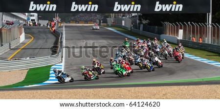 ESTORIL, PORTUGAL - OCTOBER 31 :  Start of race of Bwin MotoGP Portugal  2010 Race Moto2 October 31, 2010 in Estoril, Portugal - stock photo