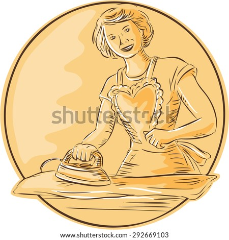 Etching engraving handmade style illustration of a homemaker housewife ironing clothes vintage style viewed from front set inside circle on isolated background  - stock photo