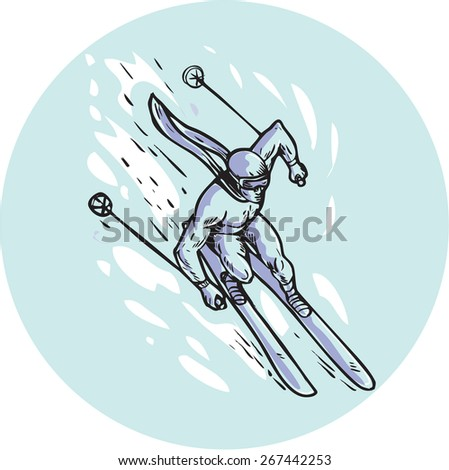 Etching engraving handmade style illustration of a skier man skiing slaloming viewed from top set inside circle.  - stock photo