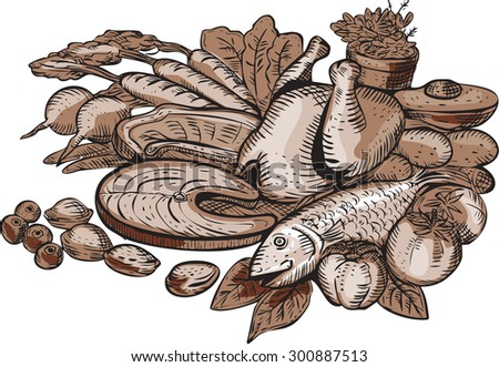 Etching engraving handmade style illustration of a typical paleo nutrition diet showing lean proteins, grass-fed meats, fruits, nuts and vegetables set on isolated white background.  - stock photo