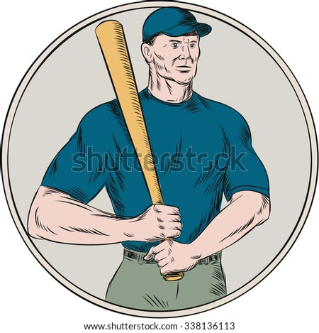 Etching engraving handmade style illustration of an american baseball player batter holding bat resting on shoulder viewed from front set on isolated white background.  - stock photo