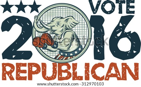 Etching engraving handmade style illustration of an American Republican GOP elephant boxer mascot boxing with boxing gloves wearing USA stars and stripes flag shorts with words Vote Republican 2016. - stock photo