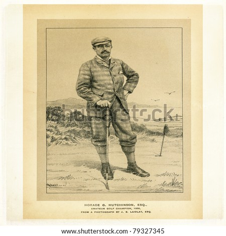 Etching of Horace G. Hutchinson, amateur golf champion, 1886, from a photograph by J. E. Laidlay for Golfing - A Handbook to the Royal And Ancient Game published by W&R Chambers Edinburgh/London 1887. - stock photo