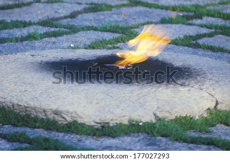 Eternal Flame at the tomb of President John F. Kennedy, Arlington Cemetery, Washington, D.C. - stock photo