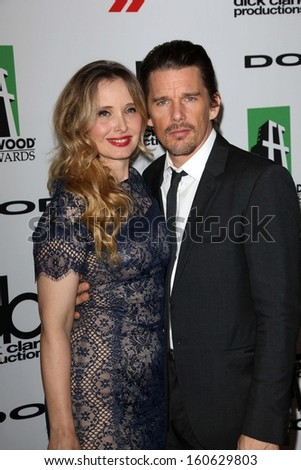 Ethan Hawke and Julie Delpy at the 17th Annual Hollywood Film Awards Arrivals, Beverly Hilton Hotel, Beverly Hills, CA 10-21-13 - stock photo