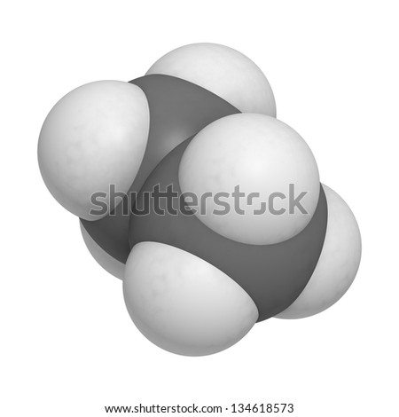 ethane natural gas component, molecular model. Atoms are represented as spheres with conventional color coding: hydrogen (white), carbon (grey) - stock photo