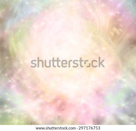 Ethereal magical fairy like background - ethereal background  with a central light area surrounded by random sparkles, pastel colors and random patterns - stock photo
