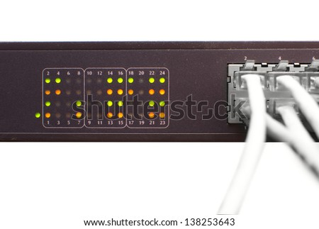 Ethernet cable and network switch - stock photo