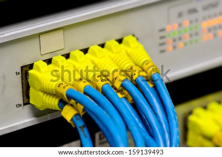 Ethernet switch isolated and router connect Lan colorful - stock photo