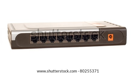 Ethernet switch isolated on the white background - stock photo
