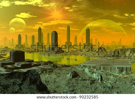 Ethernia, alien town with modern buildings with water, mountains, moons and stars at the background - stock photo