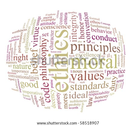 ethics and morales word or tag cloud - stock photo