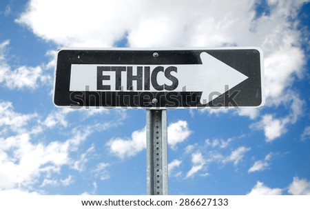 Ethics direction sign with sky background - stock photo