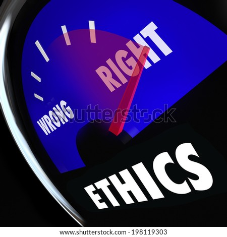 Ethics measured gauge to determine your level of good bad behavior right wrong actions - stock photo