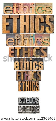 ethics word abstract in a form of exclamation point - a collage of isolated text in vintage letterpress wood and metal type - stock photo