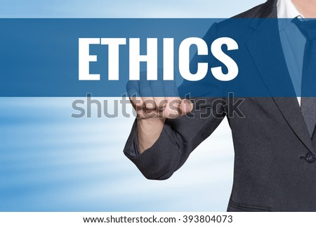 Ethics word Business man touching on blue virtual screen - stock photo